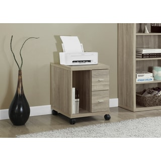 Natural Reclaimed-look 2-drawer Castor Computer Stand