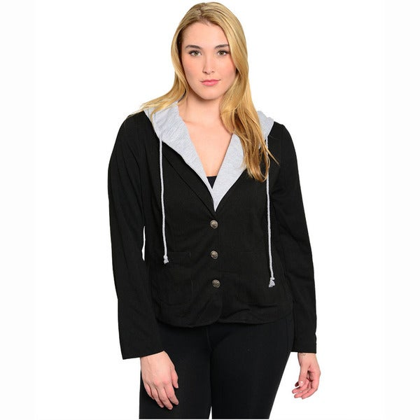Feellib Women's Plus Size Long Sleeve Hoodie Jacket With Front Button Closure And Notched Collars