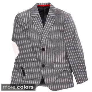 Elie Balleh Boys Slim Fit Pinstriped Blazer