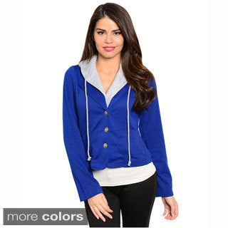 Shop The Trends Women's Long Sleeve Hoodie Jacket With Front Button Closure And Notched Collars