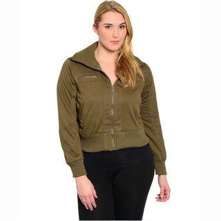 Shop The Trends Women's Plus Size Long Sleeve Jacket With Front Zip Closure And Banded Cuffs And Hem