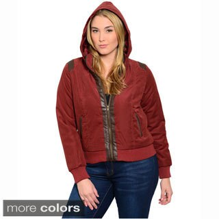 Shop The Trends Women's Plus Size Long Sleeve Hooded Jacket With Front Zipped Closure And Pleather Trim