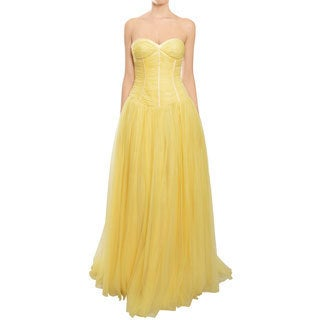 Escada Couture Fairytale Lemon Yellow Tulle Bustier Ball Gown