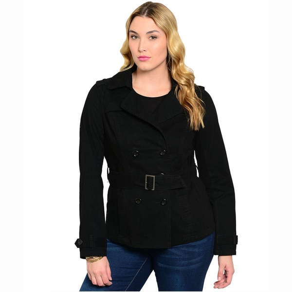 Shop The Trends Women's Plus Size Black/ Khaki Solid Long Sleeve Woven Jacket With Front Button Closure And Buckled Belt