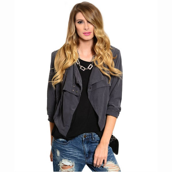 Shop The Trends Women's Quarter Sleeve Woven Moto Jacket With Loose Fit And Open Front Design