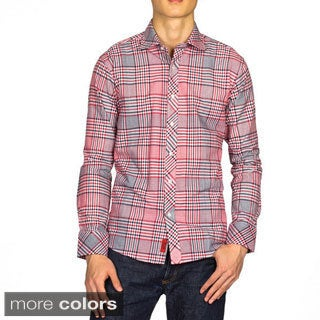 Elie Balleh Boys Slim Fit Plaid Cotton Dress Shirt