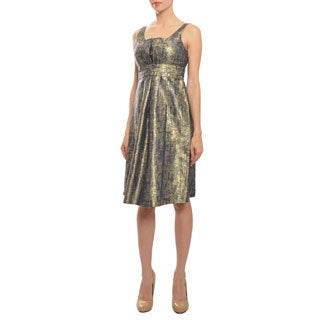 Moschino Chic Pleated Silk Gold Speckle Cocktail Dress
