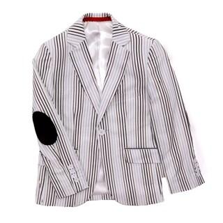 Elie Balleh Boys White and Neutral Striped Blazer