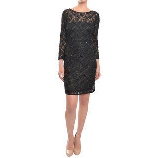 Aidan Mattox Sparkling Black Stretch Lace Sequin Cocktail Dress