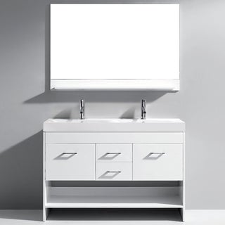 Virtu Gloria 48-inch White Double Sink Bathroom Vanity Set