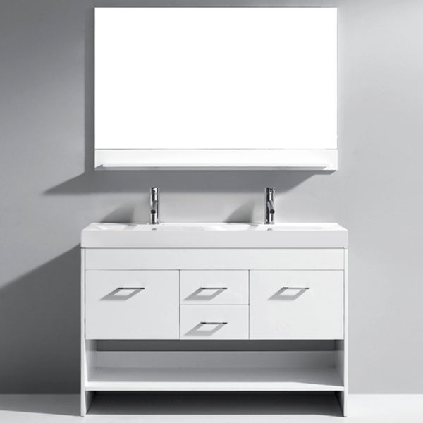 Virtu usa gloria 48 inch white double sink bathroom vanity - 52 inch bathroom vanity double sink ...