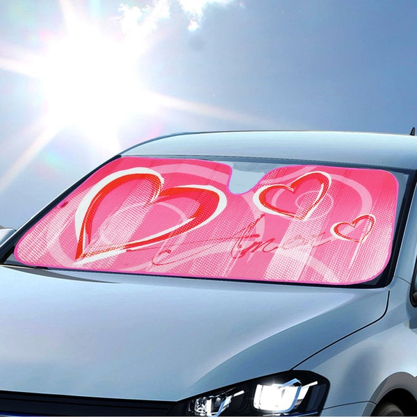 BDK Original Hearts Love Sun Shade for Car Universal Fit