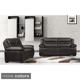 Winnie Leather Modern Sofa and Loveseat