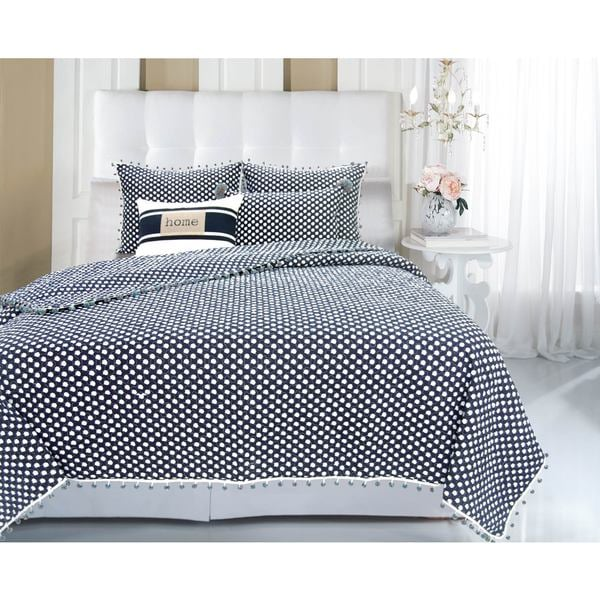 Melody Blue/ White Polka Dot 3-piece Quilt Set