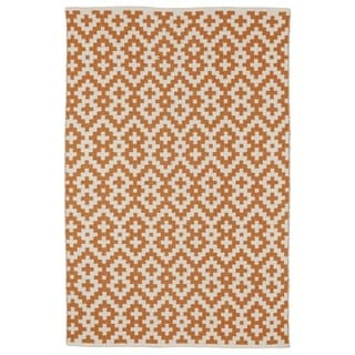 Samsara Orange Peel and Bright White Geometric Area Rug (8' x 10')