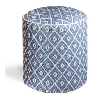 Veria Faded Denim and White Sand Pouf