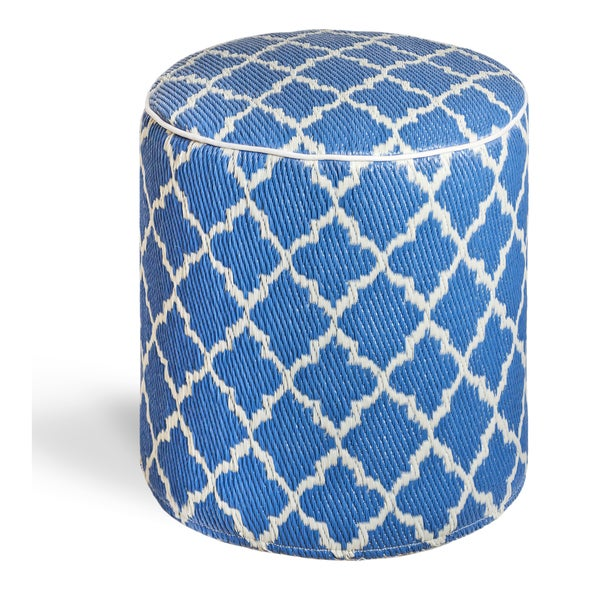 Tangier Regatta Blue and White Pouf