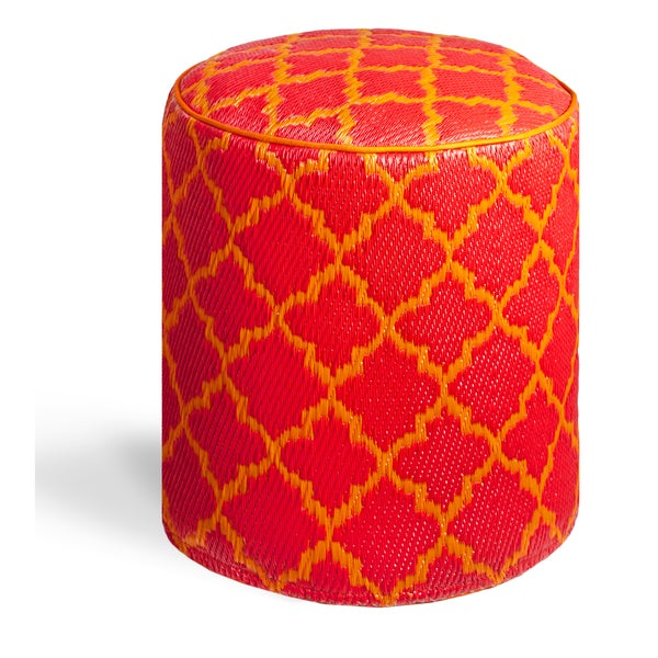 Tangier Orange Peel and Rouge Red Pouf