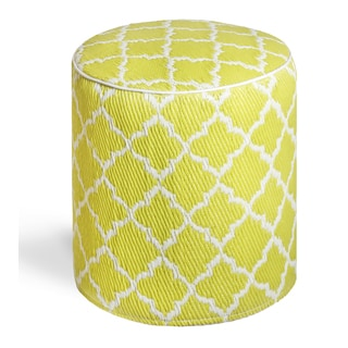 Tangier Celery and White Pouf