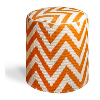 Laguna Orange Peel and White Pouf