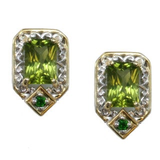 Michael Valitutti Palladium Silver Arizona Peridot Stud Earrings