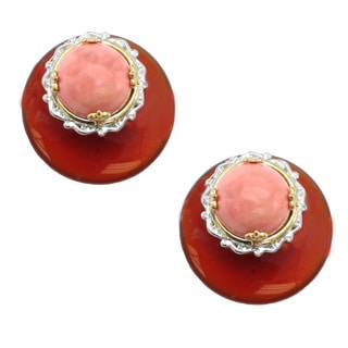 Michael Valitutti Salmon Coral and Red Agate Stud Earrings