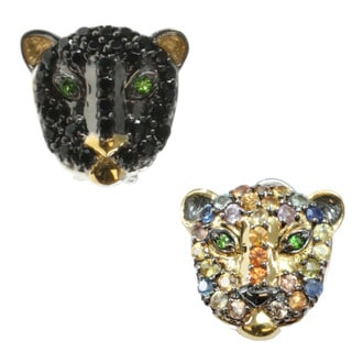 Michael Valitutti Multi Sapphire or Black Spinel Panther Earrings