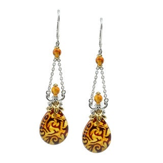 Michael Valitutti Pressed Amber Carved Earrings