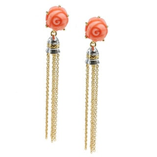 Michael Valitutti Carved Rose Bamboo Coral And Tassel Earrings