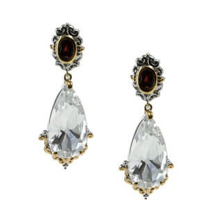 Michael Valitutti Palladium Silver Arkansas Quartz And Idaho Garnet Drop Earrings