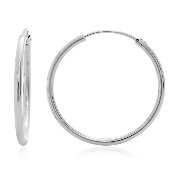 Sterling Essentials Silver 1.5-inch Thin Tube Hoop Earrings