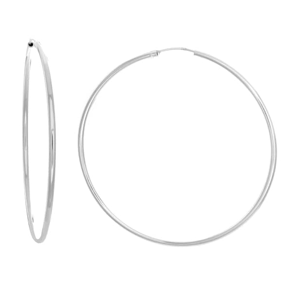 Sterling Essentials Silver 2.3-inch Thin Tube Hoop Earrings