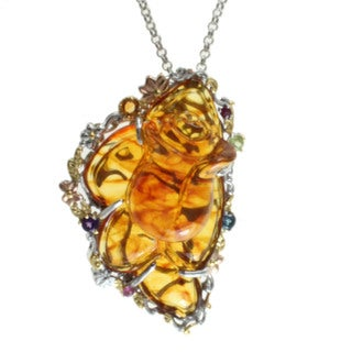 Michael Valitutti Carved Amber Necklace