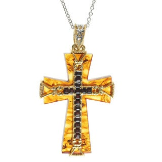 Michael Valitutti Amber 'Cross' Pendant with Almandite Garnet