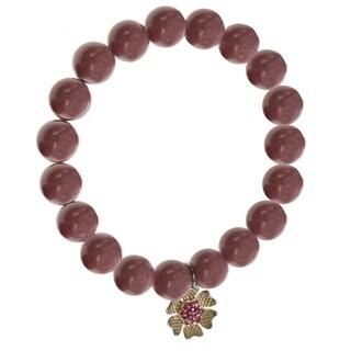 Dallas Prince Rhodonite Bead Bracelet with 'Flower' Charm