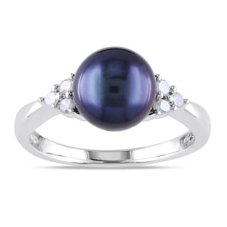 Miadora Sterling Silver Cultured Black Pearl and 1/8ct TDW Diamond Ring (H-I, I2-I3) (8-8.5 mm)