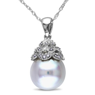 Miadora 14k White Gold South Sea Pearl and Diamond Accent Pendant (G-H, I1-I2)