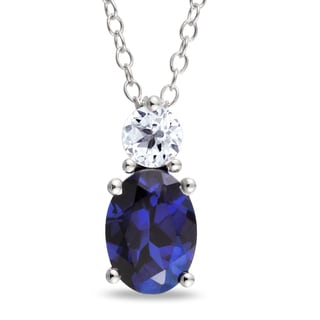 Miadora Sterling Silver Created Blue and White Sapphire Pendant