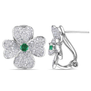 Miadora Signature Collection 14k White Gold Emerald and 1ct TDW Diamond Earrings (G-H, SI1-SI2)