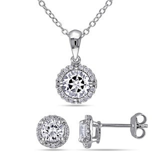 Miadora Silver Created White Sapphire and 1/6ct TDW Diamond Set of Necklace and Earrings (G-H, I2-I3)