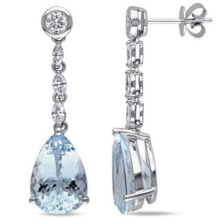 Miadora Signature Collection 14k White Gold Aquamarine and 7/8ct TDW Diamond Drop Earrings (G-H, SI1-SI2)