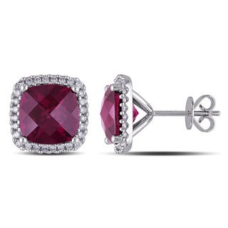 Miadora Signature Collection 14k White Gold Rhodolite and 1/3ct TDW Diamond Earrings (G-H, SI1-SI2)