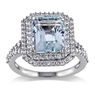 Miadora Signature Collection 14k White Gold Aquamarine and 3/4ct TDW Diamond Ring (G-H, SI1-SI2)