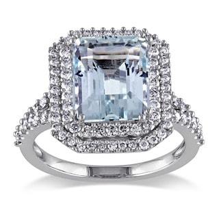 Miadora Signature Collection 14k White Gold Aquamarine and 3/4ct TDW Diamond Ring (G-H, SI1-SI2)