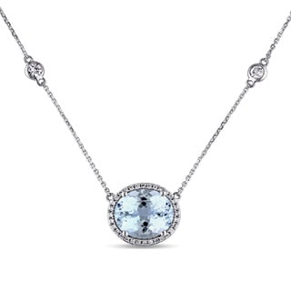 Miadora Signature Collection 14k White Gold Aquamarine, White Sapphire and 1/6ct TDW Diamond Necklace (G-H, SI1-SI2)
