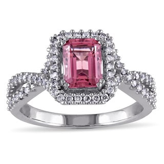 Miadora Signature Collection 14k White Gold Pink Tourmaline and 1/3ct TDW Diamond Braided Ring (G-H, SI1-SI2)
