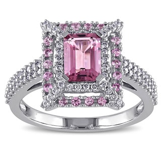 Miadora Signature Collection 14k White Gold Pink Tourmaline, Pink Sapphire and 3/8ct TDW Diamond Ring (G-H, SI1-SI2)