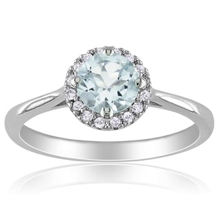 Miadora Sterling Silver Aquamarine and 1/10ct Diamond Ring (H-I, I2-I3)