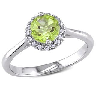 Miadora Sterling Silver Peridot and 1/10ct Diamond Ring (H-I, I2-I3)