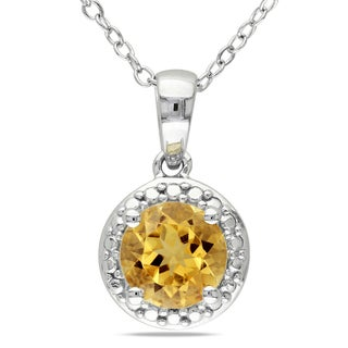 Miadora Sterling Silver Citrine Necklace